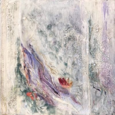 SOLD Moving Forward II, Encaustic Mixed Media Painting by Jane Cousens, 12x12