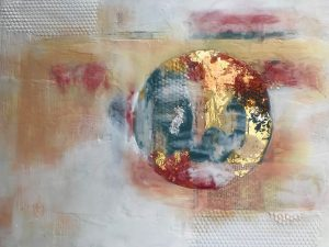 World on Fire, Encaustic Mixed Media by Jane Cousens 12x16