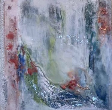 SOLD Moving Forward I, Encaustic Mixed Media Painting by Jane Cousens, 12x12