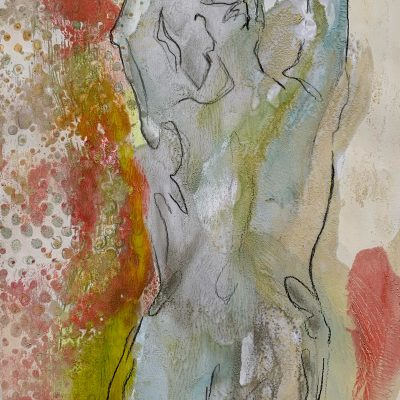 Dancer II, 10 x 8 in., Drawing on Encaustic Monotype, SOLD