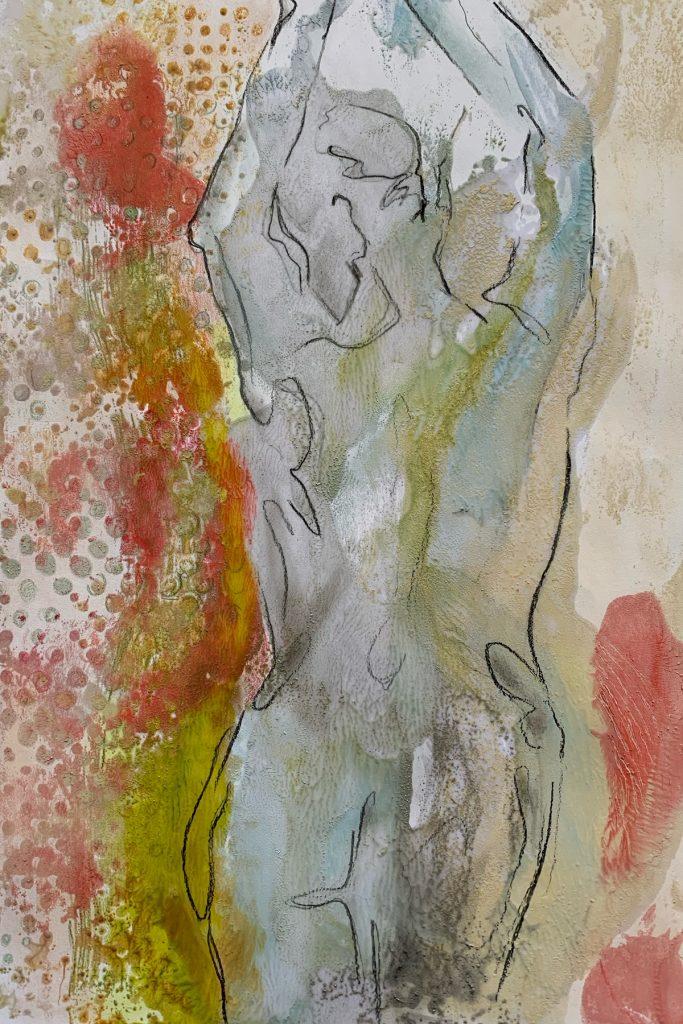 Dancer II, 10 x 8 in., Drawing on Encaustic Monotype, SOLD