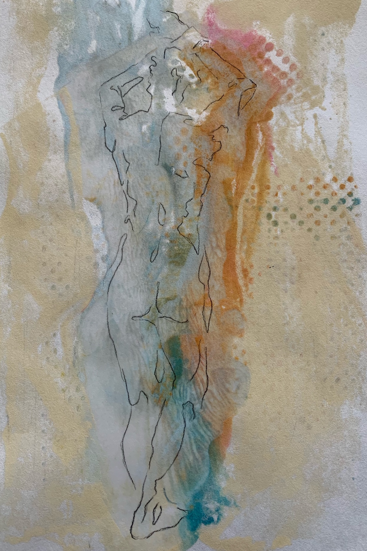 Dancer I, 10 x 8 in., Drawing on Encaustic Monotype, SOLD