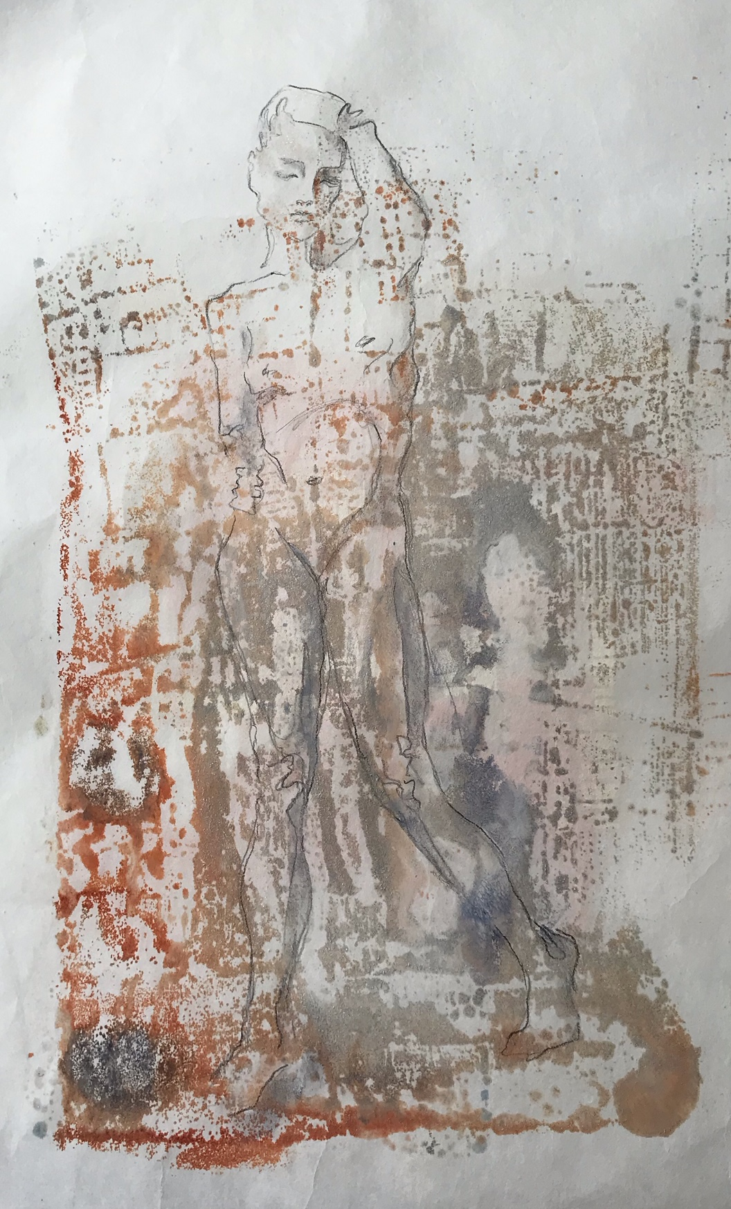 """Moving Out of the Earth, Drawing on Encaustic Monotype, 17"""" x 11"""" SOLD"""