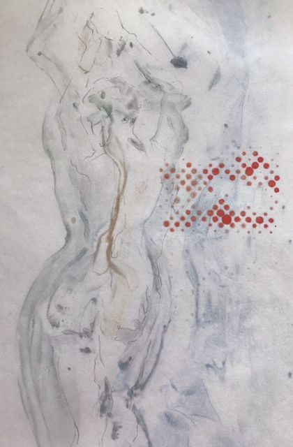 Emergence - Encaustic monotype drawing on rice paper - 13 in. x 9 in.  $240